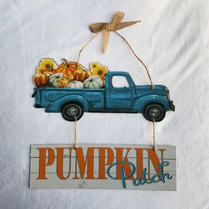 New! Blue Pumpkin Patch Truck Faux Wooden Sign